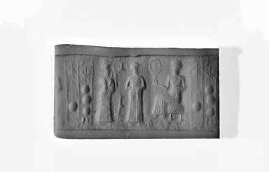 Ancient Near Eastern. <em>Cylinder Seal</em>, 2000-1850 B.C.E. Hematite, 7/8 x Diam. 1/2 in. (2.2 x 1.3 cm). Brooklyn Museum, Brooklyn Museum Collection, X20.11. Creative Commons-BY (Photo: Brooklyn Museum, CUR.X20.11_NegA_print_bw.jpg)