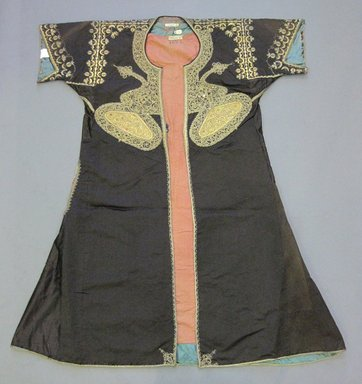<em>Black Satin Weave Coat</em>, late 19th century. Satin weave, point deplume embroidery, 39 3/8 x 31 1/8 in.  (100 x 79 cm). Brooklyn Museum, Brooklyn Museum Collection, X205. Creative Commons-BY (Photo: Brooklyn Museum, CUR.X205.jpg)