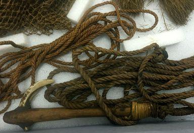 <em>Fishhook (Makau)</em>. Shell, wood, fiber, parinarium resin, 4 1/8 × 10 13/16 in. (10.5 × 27.5 cm). Brooklyn Museum, Brooklyn Museum Collection, X212. Creative Commons-BY (Photo: , CUR.X212_overall.jpg)