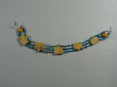 <em>Necklace of Tubular Beads</em>, ca. 1539-1292 B.C.E. Faience, Total Length: 7 7/8 in. (20 cm). Brooklyn Museum, Brooklyn Museum Collection, X249.7. Creative Commons-BY (Photo: Brooklyn Museum, CUR.X249.7_view1.jpg)