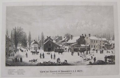 George Hayward (American, active 1834-1872). <em>View of Front Street, Brooklyn, Long Island</em>, 1865. Lithograph, Sheet: 8 3/4 x 13 1/2 in. (22.2 x 34.3 cm). Brooklyn Museum, Brooklyn Museum Collection, X368 (Photo: Brooklyn Museum, CUR.X368.jpg)
