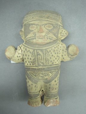 Chancay. <em>Figurine</em>, ca. 1000-1400. Ceramic, pigment, 9 1/4 x 7 1/4 x 2 7/8 in. (23.5 x 18.4 x 7.3 cm). Brooklyn Museum, Brooklyn Museum Collection, X492. Creative Commons-BY (Photo: Brooklyn Museum, CUR.X492_view1.jpg)