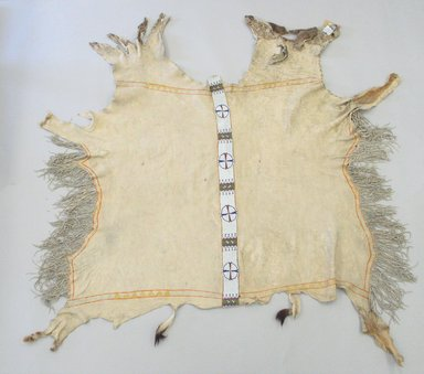 Ute. <em>Beaded Hide</em>, 1801-1900. Deerskin, beads, 53 9/16 x 59 13/16 in.  (136 x 152 cm). Brooklyn Museum, Brooklyn Museum Collection, X568. Creative Commons-BY (Photo: Brooklyn Museum, CUR.X568_view1.jpg)