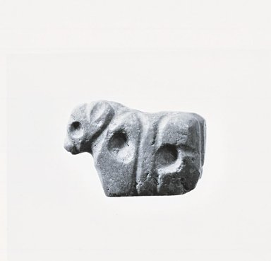 Probably Sumerian. <em>Figure of a Standing Bull</em>, 3rd millennium B.C.E. Quartzite, 1 9/16 x 2 1/2 in. (4 x 6.3 cm). Brooklyn Museum, Brooklyn Museum Collection, X570. Creative Commons-BY (Photo: Brooklyn Museum, CUR.X570_negA_print_bw.jpg)