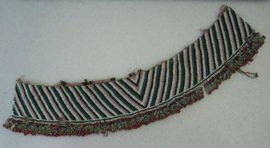 Zulu. <em>Girdle</em>, early 20th century. Glass seed beads, natural fiber, sinew, 32 7/8 x 6 1/2 in.  (83.5 x 16.5 cm). Brooklyn Museum, Brooklyn Museum Collection, X587. Creative Commons-BY (Photo: Brooklyn Museum, CUR.X587_overall.jpg)