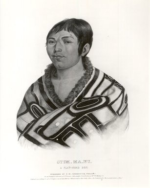 L.J. Bowen. <em>Stum - Ma - Nu, A Flat-Head Boy</em>, 1838. Lithograph, hand-colored on paper, 9 1/2 x 8 1/8 in.  (24.1 x 20.6 cm). Brooklyn Museum, Brooklyn Museum Collection, X598.2 (Photo: Brooklyn Museum, CUR.X598.2.jpg)