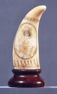 Unknown. <em>Scrimshaw, Whale's Tooth</em>, ca. 1825-1835. Whale's tooth, 5 1/8 x 2 1/8 in. (13 x 5.4 cm). Brooklyn Museum, Brooklyn Museum Collection, X613.1. Creative Commons-BY (Photo: Brooklyn Museum, CUR.X613.1a.jpg)