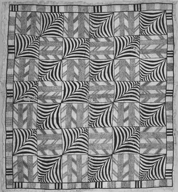 Niuean. <em>Tapa (Hiapo)</em>, late 19th-early 20th century. Barkcloth, pigment, 67 1/2 x 75 in.  (171.5 x 190.5 cm). Brooklyn Museum, Brooklyn Museum Collection, X614. Creative Commons-BY (Photo: Brooklyn Museum, CUR.X614_print_front_bw.jpg)
