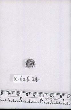 <em>Scaraboid</em>. Steatite, glaze, 3/16 x 7/16 x 1/2in. (0.4 x 1.1 x 1.2cm). Brooklyn Museum, Brooklyn Museum Collection, X626.24. Creative Commons-BY (Photo: Brooklyn Museum, CUR.X626.24_negA_bw.jpg)