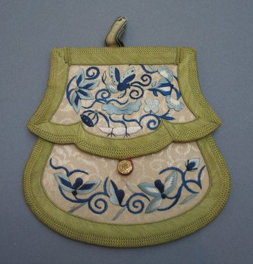 <em>Envelope Shaped Purse</em>, 19th century. Satin embroidery on brocade, 5 3/4 x 5 3/4 in.  (14.6 x 14.6 cm). Brooklyn Museum, Brooklyn Museum Collection, X640.22. Creative Commons-BY (Photo: Brooklyn Museum, CUR.X640.22.jpg)