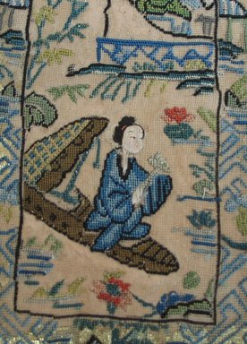 <em>Panel of Embroidery</em>. Cotton and metallic threads on gauze, 9 1/2 x 3 7/8 in.  (24.1 x 9.8 cm). Brooklyn Museum, Brooklyn Museum Collection, X640.9. Creative Commons-BY (Photo: Brooklyn Museum, CUR.X640.9_detail1.jpg)