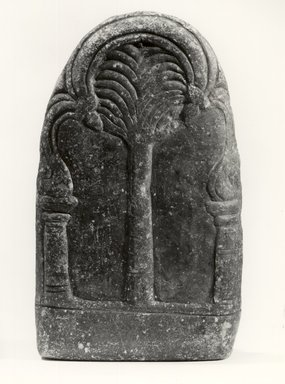 <em>Stele Depicting one of the Tirthankara Figures</em>, 10th century. Stone with mica, 6 5/16 x 3 9/16 in. (16 x 9 cm). Brooklyn Museum, Brooklyn Museum Collection, X688. Creative Commons-BY (Photo: Brooklyn Museum, CUR.X688_back_bw.jpg)