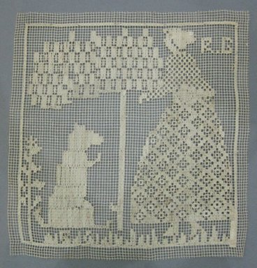 <em>Cushion Top with Woman, Tree and Dog</em>, 19th century. Linen, 9 x 9 1/4 in. (22.9 x 23.5 cm). Brooklyn Museum, Brooklyn Museum Collection, X70. Creative Commons-BY (Photo: Brooklyn Museum, CUR.X70.jpg)