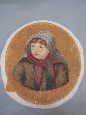 <em>Embroidery of Girl's Head</em>, 19th century., 20 7/8 x 19 1/2 in.  (53 x 49.5 cm). Brooklyn Museum, Brooklyn Museum Collection, X71. Creative Commons-BY (Photo: Brooklyn Museum, CUR.X71.jpg)
