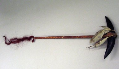 Plains. <em>Staff or War Club</em>, 1875-1900. Stone, hide, bison horns, owl feathers, horsehair, ochre, 21 7/8 in.  (55.5 cm). Brooklyn Museum, Brooklyn Museum Collection, X730. Creative Commons-BY (Photo: Brooklyn Museum, CUR.X730_view1.jpg)
