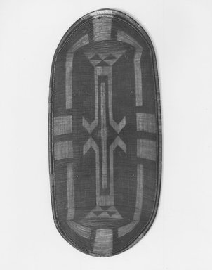 Zande. <em>Shield (Kube)</em>, late 19th century. Fiber, 43 1/2 x 20in. (110.5 x 50.8cm). Brooklyn Museum, Brooklyn Museum Collection, X756. Creative Commons-BY (Photo: Brooklyn Museum, CUR.X756_print_bw.jpg)