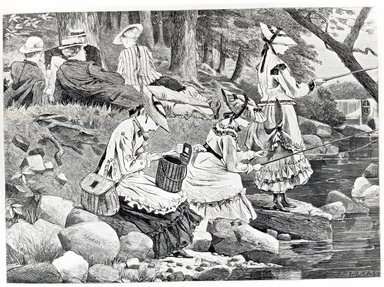 Winslow Homer (American, 1836-1910). <em>The Fishing Party</em>. Wood engraving Brooklyn Museum, Brooklyn Museum Collection, X757.2 (Photo: Brooklyn Museum, CUR.X757.2_bw.jpg)