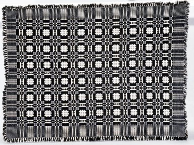American. <em>Coverlet</em>, ca. 1825-1850. Wool, cotton, 80 x 50 in. (203.2 x 127.0 cm) (including fringe). Brooklyn Museum, Brooklyn Museum Collection, X769.1 (Photo: , CUR.X769.1_bw.jpg)