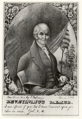 Samuel Palmer Jr. (American, active 1844-1845). <em>Reverend Sylvanus Palmer</em>, March, 1844. Lithograph on wove paper, Image: 9 3/16 x 5 7/8 in. (23.4 x 15 cm). Brooklyn Museum, Brooklyn Museum Collection, X85 (Photo: Brooklyn Museum, CUR.X85.jpg)