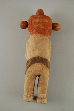 Hopi Pueblo. <em>Kachina Doll (Koyemsi [Mudhead])</em>, late 19th century. Wood, pigment, 18.5 x 8 x 3.8 cm / 7 1/2 x 3 1/4 x 1 1/2 in. Brooklyn Museum, Brooklyn Museum Collection, X862.1. Creative Commons-BY (Photo: Brooklyn Museum, CUR.X862.1_back.jpg)