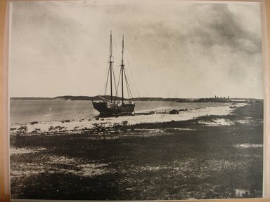 George Bradford Brainerd (American, 1845-1887). <em>Shelter Island, East Shore, Vessel on the Beach</em>, 1879, printed 1940s. Gelatin silver photograph, sheet: 11 x 14 in. (27.9 x 35.6 cm). Brooklyn Museum, Brooklyn Museum Collection, X894.155 (Photo: Brooklyn Museum, CUR.X894.155.jpg)