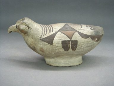 Haak'u (Acoma Pueblo). <em>Sheep-shaped Effigy Vessel</em>, 1801-1900. Clay, 7 1/2 x 3 1/2 x 3 1/8 in (19 x 8.9 x 8 cm). Brooklyn Museum, Brooklyn Museum Collection, X898.9. Creative Commons-BY (Photo: Brooklyn Museum, CUR.X898.9_view1.jpg)