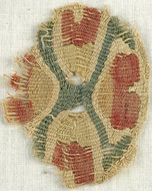Coptic. <em>Textile</em>, 4th-7th century C.E. Flax, wool, 2 3/8 x 2 in. (6 x 5.1 cm). Brooklyn Museum, Brooklyn Museum Collection, X930. Creative Commons-BY (Photo: Brooklyn Museum (in collaboration with Index of Christian Art, Princeton University), CUR.X930_ICA.jpg)
