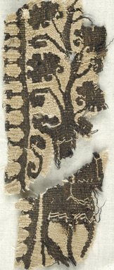 Coptic. <em>Band Fragment with Potted Botanical Decoration</em>, 4th-5th century C.E. Flax, wool, Larger fragment: 4 1/4 x 2 in. (10.8 x 5.1 cm). Brooklyn Museum, Brooklyn Museum Collection, X935. Creative Commons-BY (Photo: Brooklyn Museum (in collaboration with Index of Christian Art, Princeton University), CUR.X935_ICA.jpg)