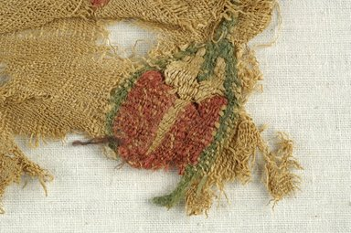 Coptic. <em>Fragment with Botanical Decoration</em>, 4th-7th century C.E. Flax, wool, 2 1/4 x 4 3/4 in. (5.7 x 12.1 cm). Brooklyn Museum, Brooklyn Museum Collection, X937. Creative Commons-BY (Photo: Brooklyn Museum (in collaboration with Index of Christian Art, Princeton University), CUR.X937_detail01_ICA.jpg)