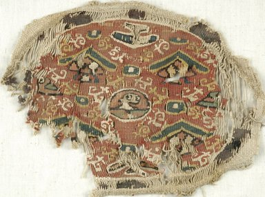 Coptic. <em>3 Fragments with Figural and Botanical Decorations</em>, 5th-7th century C.E. Flax, wool, x943a: 7 x 6 3/4 in. (17.8 x 17.1 cm). Brooklyn Museum, Brooklyn Museum Collection, X943a-c. Creative Commons-BY (Photo: Brooklyn Museum (in collaboration with Index of Christian Art, Princeton University), CUR.X943B_ICA.jpg)