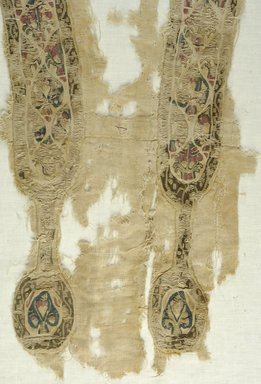Coptic. <em>Tunic Fragments with Botanical Decoration</em>, 5th-7th century C.E. Wool, flax (?), x945a: 11 × 27 3/4 in. (28 × 70.5 cm). Brooklyn Museum, Brooklyn Museum Collection, X945. Creative Commons-BY (Photo: Brooklyn Museum (in collaboration with Index of Christian Art, Princeton University), CUR.X945_detail01_ICA.jpg)