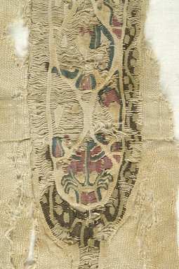 Coptic. <em>Tunic Fragments with Botanical Decoration</em>, 5th-7th century C.E. Wool, flax (?), x945a: 11 × 27 3/4 in. (28 × 70.5 cm). Brooklyn Museum, Brooklyn Museum Collection, X945. Creative Commons-BY (Photo: Brooklyn Museum (in collaboration with Index of Christian Art, Princeton University), CUR.X945_detail05_ICA.jpg)