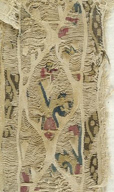 Coptic. <em>Tunic Fragments with Botanical Decoration</em>, 5th-7th century C.E. Wool, flax (?), x945a: 11 × 27 3/4 in. (28 × 70.5 cm). Brooklyn Museum, Brooklyn Museum Collection, X945. Creative Commons-BY (Photo: Brooklyn Museum (in collaboration with Index of Christian Art, Princeton University), CUR.X945_detail09_ICA.jpg)