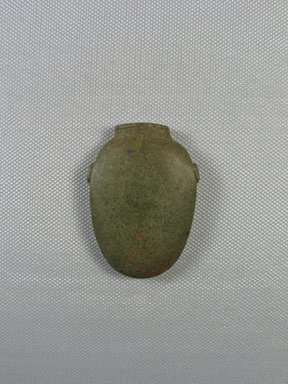 <em>Gray-green Heart Scarab</em>, ca. 727-30 B.C.E. Stone (soapstone?), 2 3/16 x 1 9/16 x 7/16 in. (5.6 x 4 x 1.1 cm). Brooklyn Museum, Museum Collection Fund, 11.687. Creative Commons-BY (Photo: Brooklyn Museum, CUR_11.687_view01.jpg)