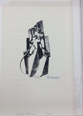 Enrico Prampolini (Italian, 1894-1965). <em>Abstract Composition</em>, 1921. Lithograph on wove paper, 9 1/2 x 4 1/2 in. (24.1 x 11.4 cm). Brooklyn Museum, Gift of Dr. F.H. Hirschland, 55.165.31 (Photo: Brooklyn Museum, CUR_55.165.31.jpg)
