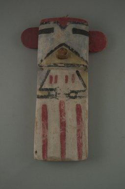 Hopi Pueblo. <em>Kachina Doll (Omau [Cloud])</em>, late 19th century. Wood, pigment, string, 4 3/4 x 1 5/8 x 7 9/16in. (12 x 4.2 x 19.2cm). Brooklyn Museum, Museum Expedition 1904, Museum Collection Fund, 04.297.5584. Creative Commons-BY (Photo: Brooklyn Museum, Cur.04.297.5584_front.jpg)