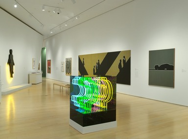 Chryssa (American, born Greece, 1933-2014). <em>Cents Sign Travelling from Broadway to Africa via Guadeloupe</em>, 1968. Neon tubing, Plexiglas, 43 x 35 x 28 1/2 in. (109.2 x 88.9 x 72.4 cm). Brooklyn Museum, Gift of Sidney Singer, 85.290. © artist or artist's estate (Photo: Brooklyn Museum, DIG_E2010_Seductive_Subversion_05_PS4_85.290.jpg)