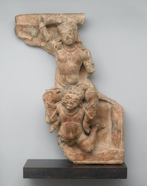 <em>Relief Tile Depicting Balarama Abducted by the Demon Pralamba</em>, 5th century. Terracotta, traces of polychromy, 22 x 15 1/2 x 6 1/4 in., 27.5 lb. (55.9 x 39.4 x 15.9 cm, 12.47kg). Brooklyn Museum, Gift of Gwenn Miller in memory of Barbara Stoler Miller, 2018.42.1. Creative Commons-BY (Photo: Brooklyn Museum, L1998.2.1_PS2.jpg)