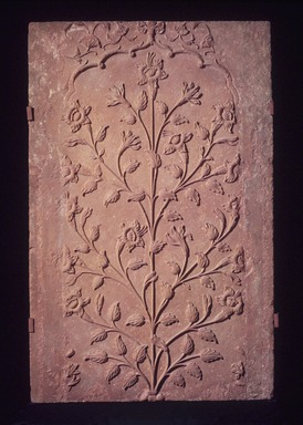<em>Architectural Panel</em>, 17th century. Red Sandstone, Object with mount: 57 3/4 x 37 1/2 x 16 in. (146.7 x 95.3 x 40.6 cm). Brooklyn Museum, Gift of Georgia and Michael de Havenon, 2013.101.1. Creative Commons-BY (Photo: Brooklyn Museum, L1999.10_transp4809.jpg)