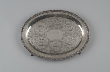 William Tenney. <em>Footed Tray</em>, ca. 1840. Silver, 1 1/8 x 16 x 12 5/8 in.  (2.9 x 40.6 x 32.1 cm). Lent by Wunsch Americana Foundation, Inc., L1999.3. Creative Commons-BY (Photo: Brooklyn Museum, L1999.3.jpg)