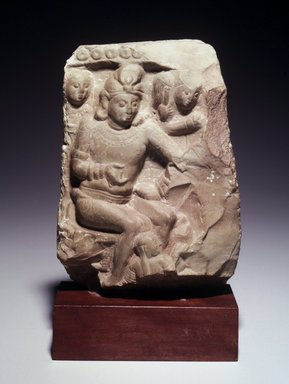 <em>Architectural Fragment</em>, 3rd century C.E. Greenish limestone, 9 3/8 x 7 1/2 x 2 7/8 in. (23.8 x 19.1 x 7.3 cm). Brooklyn Museum, Gift of Georgia and Michael de Havenon, 2013.101.2. Creative Commons-BY (Photo: Brooklyn Museum, L2000.9_transp4796.jpg)