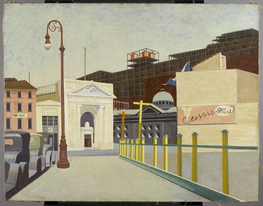 Francis Criss (American, born England, 1901-1973). <em>City Landscape</em>, 1934. Oil on canvas, 28 7/8 x 36 7/8 in. (73.3 x 93.7 cm). Courtesy of the Fine Arts Collection, U.S. General Services Administration