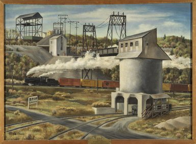 Edward Dreis (American, 1909-1975). <em>Gravel-Silo</em>, ca. 1930s. Oil on canvas, 27 1/4 x 37 1/4 in. (69.2 x 94.6 cm). Courtesy of the Fine Arts Program, U.S. General Services Administration, L34.127 (Photo: Brooklyn Museum, L34.127.jpg)