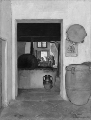 Charles Caryl Coleman (American, 1840-1928). <em>The Olive Oil Press, Capri</em>, 1911-1912. Oil on canvas, 27 1/4 x 20 9/16 in. (69.2 x 52.2 cm). On extended loan from the Artist's Estate, L37.5235 (Photo: Brooklyn Museum, L37.5235_bw.jpg)