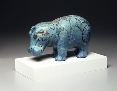 <em>Standing Hippopotamus</em>, ca. 1938-1539 B.C.E. Faience, 4 1/4 x 6 9/16 in. (10.8 x 16.7 cm). Anonymous loan, L48.7.19. Creative Commons-BY (Photo: Brooklyn Museum, L48.7.19_transp5519.jpg)