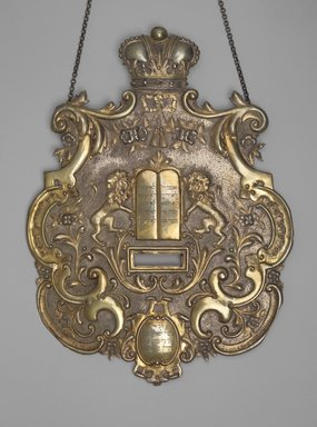 Jewish. <em>Torah Shield</em>, 1898. Silver-plated brass, 15 5/8 x 11 5/8 x 1/4 in. (39.7 x 29.5 x 0.6cm). Loaned by Jewish Cultural Reconstruction, Inc., L50.26.1. Creative Commons-BY (Photo: Brooklyn Museum, L50.26.1.jpg)