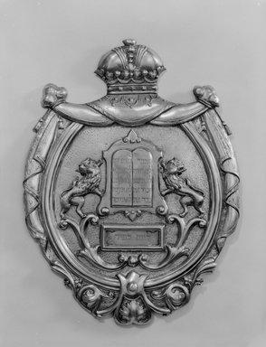 Jewish. <em>Torah Shield</em>, late 19th century. Silver gilt, 14 3/8 x 10 3/4 x 1 in. (36.5 x 27.3 x 2.5cm). Loaned by Jewish Cultural Reconstruction, Inc., L50.26.2. Creative Commons-BY (Photo: Brooklyn Museum, L50.26.2_bw.jpg)
