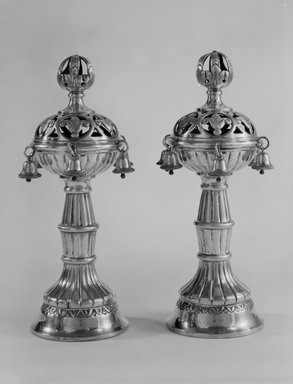 Jewish. <em>Pair of Torah Finials</em>, 1920s. Silver-plated metal, 13 1/2 x 4 3/4 x 4 3/4 in. (34.3 x 12.1 x 12.1 cm). Loaned by Jewish Cultural Reconstruction, Inc., L50.26.5a-b. Creative Commons-BY (Photo: Brooklyn Museum, L50.26.5a-b_bw.jpg)