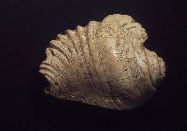Chavin. <em>Incised Strombus-Shell Trumpet</em>, 400-200 B.C.E. Strombus shell, 11 1/4 x 7 1/8 x 11 1/4 in.  (28.6 x 18.1 x 28.6 cm). Anonymous Loan, L52.1. Creative Commons-BY (Photo: Brooklyn Museum, L52.1_transp5626.jpg)