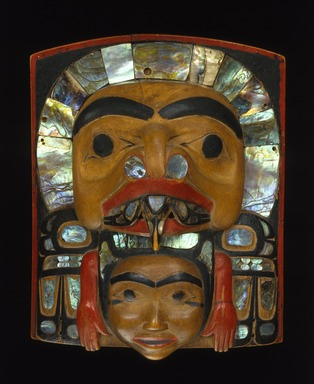 Haida. <em>Crest Frontlet</em>, 1850-1875. Wood, abalone shell, pigment, 7 x 5 3/4 x 2 1/4 in. (17.8 x 14.6 x 5.7 cm). Anonymous loan, L52.3. Creative Commons-BY (Photo: Brooklyn Museum, L52.3_SL1.jpg)